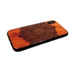 Задняя крышка Iphone 7 Plus/8 Plus красное дерево с лаком, кружевной узор в центре в блистере