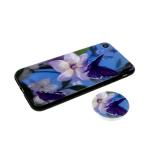 Задняя крышка Iphone 7 Plus/8 Plus пластик с лаковым покрытием, попсокет, фиолетовая бабочка на цвет