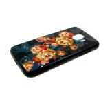 Задняя крышка Samsung A600 Galaxy A6 (2018) почтовая открытка с цветами, черная