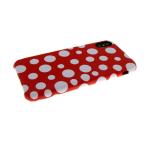 Задняя крышка Iphone 6 Plus под материю, белый горох, красная