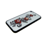 Задняя крышка Samsung A600 Galaxy A6 (2018) прозрачно матовый со стразами, розы красный
