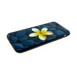 Задняя крышка Huawei Honor 9 Lite  речные камни, голубые с цветком