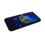 Задняя крышка Iphone 7 Plus/8 Plus силиконовый борт, с лаковыми блестками, бабочка синяя