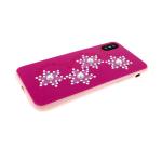 Задняя крышка Iphone 7/8 жемчуг, звезды из страз, розовая