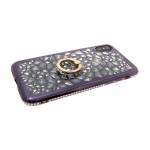 Силиконовый чехол Samsung A730 Galaxy A8+ 2018 3D битые кристаллы с кольцом, окантовка со страз, чер