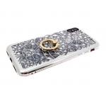 Силиконовый чехол Samsung A730 Galaxy A8+ 2018 3D битые кристаллы с кольцом, окантовка со страз, сер