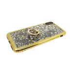 Силиконовый чехол Samsung J810F Galaxy J8 2018 3D битые кристаллы с кольцом, со страз, золото