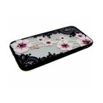 Задняя крышка Huawei Honor 10 Lite черные кружева, брошка-цветок, розовая с жемчугом