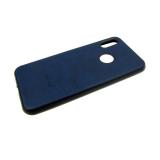 Силиконовый чехол Samsung A70 эко-кожа Rich Boss, темно-синий