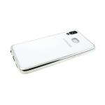Силиконовый чехол Samsung A810 Galaxy A8s 2019 глянцевый, логотип в цвет бампера, белый