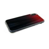 Силиконовый чехол Xiaomi Redmi Note 6 Pro хамелеон с переходом, прозрачный борт, черно-красный
