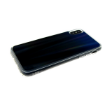 Силиконовый чехол Xiaomi Redmi Note 6 Pro хамелеон с переходом, прозрачный борт, черно-синий