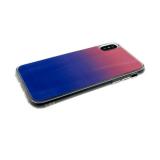 Силиконовый чехол Huawei P SMART 2019 хамелеон с переходом, прозрачный борт, сине-розовый