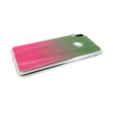 Силиконовый чехол Huawei P SMART 2019 хамелеон с переходом, прозрачный борт, зелено-розовый