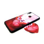 Задняя крышка Huawei Honor 8C попсокет-сердце, пластик, черный борт, два сердца с шарами