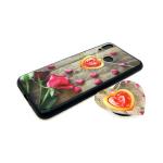 Задняя крышка Huawei Honor 8C попсокет-сердце, пластик, черный борт, розы с сердцами