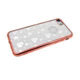 Силиконовый чехол Huawei Honor 8C 2 в 1 блестки с сердечками, розовое-золото