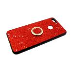 Силиконовый чехол Huawei Honor 8C черный борт, блестки с кольцом, красный