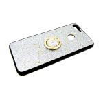 Силиконовый чехол Xiaomi Redmi Note 6 Pro черный борт, блестки с кольцом, серебро