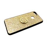 Силиконовый чехол Huawei Honor 8C черный борт, блестки с кольцом, золото