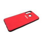 Силиконовый чехол Samsung A30 эко-кожа с серебристым лого, черный борт, красный
