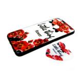 Задняя крышка Samsung G970F Galaxy S10 Lite глянцевый рисунок с попсокет, красные цветочки