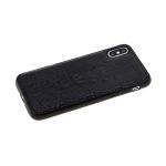 Силиконовый чехол Huawei Honor 8A кожа крокодила, с прострочкой, черный