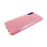 Силиконовый чехол Huawei Honor 8X плотный с блестками, вырез для лого, розовый