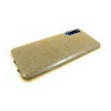 Силиконовый чехол Samsung Galaxy A10  плотный с блестками, вырез для лого, золотой