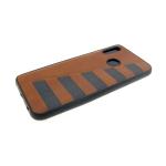 Силиконовый чехол Huawei Honor 8X под кожу с серыми полосками, коричневый