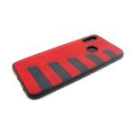 Силиконовый чехол Huawei Honor 8X под кожу с серыми полосками, красный