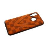 Силиконовый чехол Samsung Galaxy A80 под кожу, шахматная доска V, коричневый