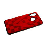 Силиконовый чехол Samsung Galaxy A80 под кожу, шахматная доска V, красный