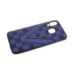 Силиконовый чехол Samsung Galaxy A80 под кожу, шахматная доска V, темно-синий