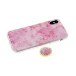 Задняя крышка Samsung Galaxy A80 под мрамор с фольгой, кольцо-держатель, розовая