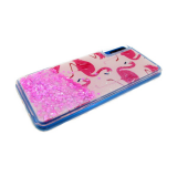 Задняя крышка Huawei Honor 9 Lite прозрачная с рисунком, плавающими розовыми блестками, фламинго
