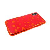 Силиконовый чехол Xiaomi Redmi GO сердечки в цвет бампера, красный