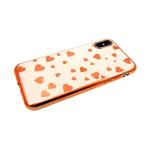 Силиконовый чехол Xiaomi Redmi GO сердечки в цвет бампера, розовое-золото