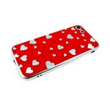 Силиконовый чехол Huawei Honor 8C серебристые сердечки, красный