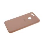 Силиконовый чехол Xiaomi Redmi Note 8T Soft Touch матовый с логотипом, светло-коричневый