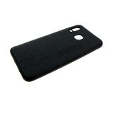 Силиконовый чехол Samsung Galaxy A40 тканевая поверхность с надписями, черный