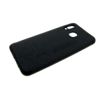 Силиконовый чехол Samsung Galaxy A20 тканевая поверхность с надписями, черный