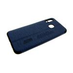 Силиконовый чехол Samsung Galaxy A20 тканевая поверхность с надписями, синий