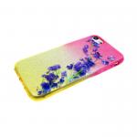 Силиконовый чехол Iphone 6/6S блестяшки с цветами, фиолетовая ветка