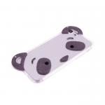 Силиконовый чехол Iphone 5/5S Панда с ушками и блестками серый