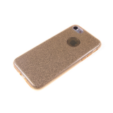 Силиконовый чехол Huawei P8 Lite плотный с блестками, вырез для лого, золотой