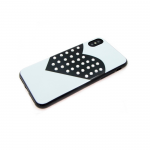 Силиконовый чехол Iphone 6/6S сердце с крупными стразами, белый