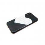 Силиконовый чехол Iphone 6/6S сердце с крупными стразами, черный
