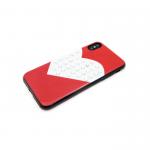 Силиконовый чехол Iphone 6/6S сердце с крупными стразами, красный