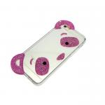 Силиконовый чехол Iphone 5/5S Панда с ушками и блестками малиновый